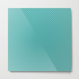 Turquoise Blue Scales Pattern Metal Print