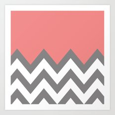 CORAL COLORBLOCK CHEVRON Art Print