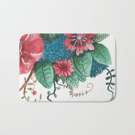 Ruby Botanical 3 Floral Watercolor Bath Mat