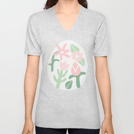 Deconstructed Abstract Modern Organic Cactus Shapes, Contemporary Tropical Plant Art Pattern in Pink and Green Pastel Color Unisex V-Neck