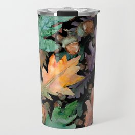 Colorful Woodland Watercolor Oak And Acorn Pattern Travel Mug