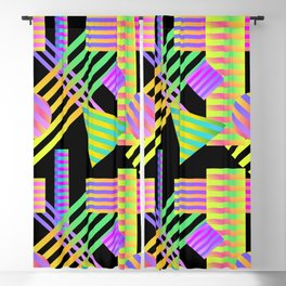 Neon Ombre 90's Striped Shapes Blackout Curtain