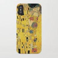 gustav klimt iPhone & iPod Cases featuring The Kiss - Gustav Klimt by BravuraMedia
