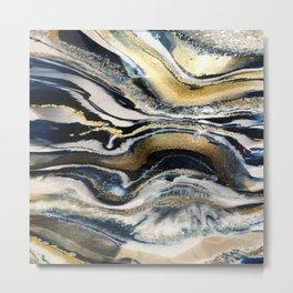 Flowing Geode Blue & Gold Metal Print