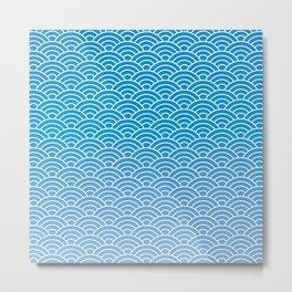 Seigaiha Gradient Blue Metal Print