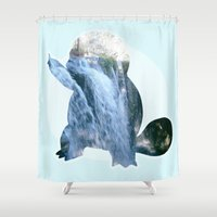 squirtle Shower Curtains featuring Squirtle  by Jessica Draper