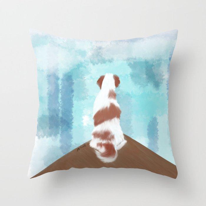 Deschutes The Brittany Spaniel Throw Pillow