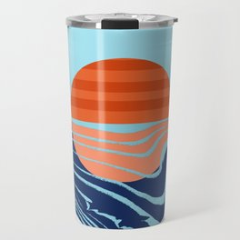 Sweetness - retro minimal 70s style throwback sunset sunrise ocean socal art Travel Mug