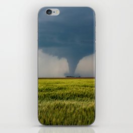 Behind the Scene - Large Tornado Passes Safely Behind a Farmhouse in Kansas iPhone Skin