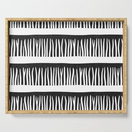 Abstract Blades of Grass in Black and White Serving Tray