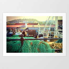Busy Harbour Art Print