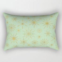 Snowflake Mandalas Mint Green Gold Rectangular Pillow