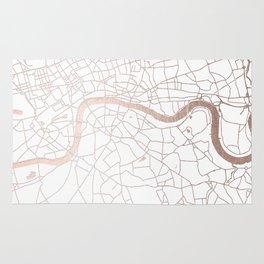 White on Rosegold London Street Map Rug
