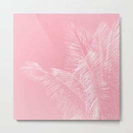 Millennial Pink illumination of Heart White Tropical Palm Hawaii Metal Print