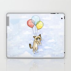 Cat With Balloons Grumpy Birthday Meme Laptop & iPad Skin