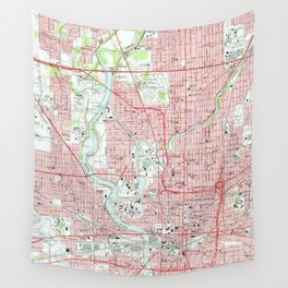Vintage Map of Indianapolis Indiana (1967) Wall Tapestry