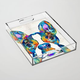Colorful Boston Terrier Dog Pop Art - Sharon Cummings Acrylic Tray