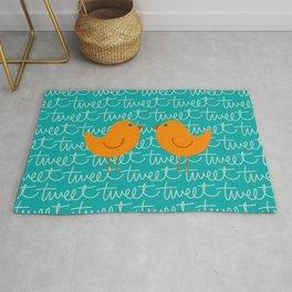 Conversation - Tweeting Birds Orange Aqua Turquoise Rug
