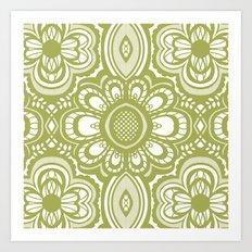 Lace Floral: Sage  Art Print