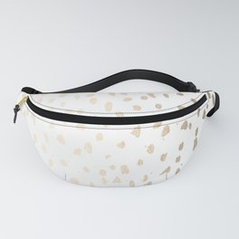Luxe Gold Painted Polka Dot on White Fanny Pack