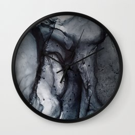 Smoke Diptych II - Alcohol Ink Painting Wall Clock