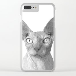 Black and White Sphynx Cat Clear iPhone Case