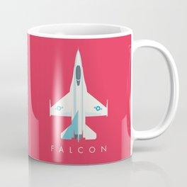 F-16 Falcon Fighter Jet Aircraft - Crimson Coffee Mug