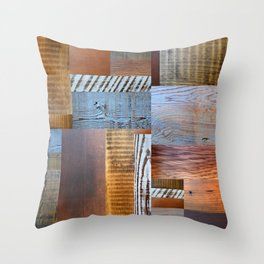 Reclaimed Wood Collage 4.0 Throw Pillow