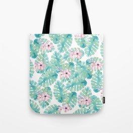 Modern summer tropical blush pink green watercolor floral Tote Bag