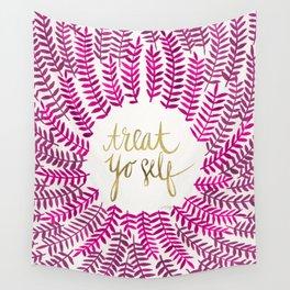 Treat Yo Self – Pink & Gold Wall Tapestry