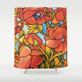 Red Poppy Lamp Shower Curtain