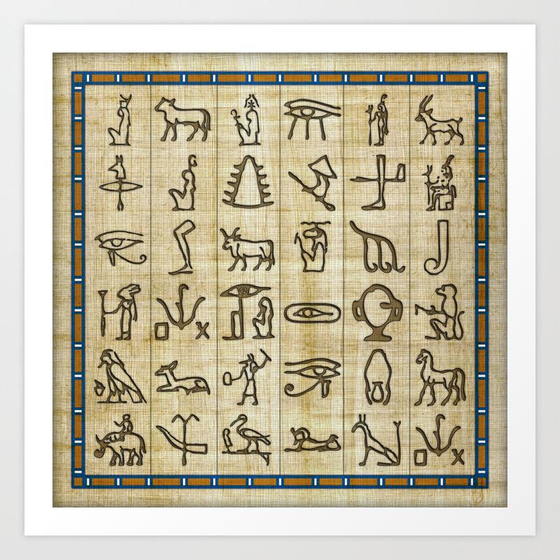 Ancient Egyptian Hieroglyphs On Papyrus Art Print By