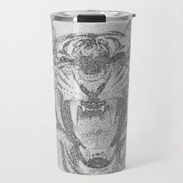 Black and White Tiger Dot Art Travel Mug