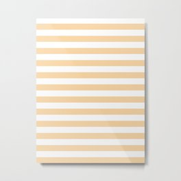 Narrow Horizontal Stripes - White and Sunset Orange Metal Print