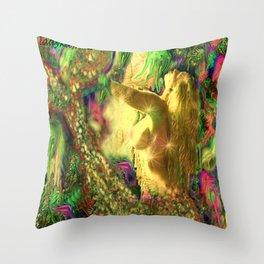 Nude mermaid & jelly fish ladykashmir Throw Pillow