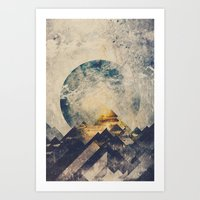 aqua Art Prints featuring One mountain at a time by HappyMelvin