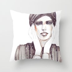 Fashion sketch in markers and pencil Throw Pillow