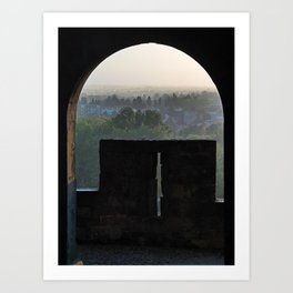 View form the medieval Carcassonne over the newer City Art Print