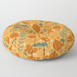 Fall Foliage in Yellow, Terracotta, and Blue Floor Pillow