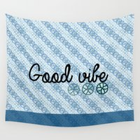 flower of life Wall Tapestries featuring flower of life - twill  by NENE W