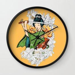 Geisha Samurai Wall Clock