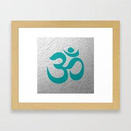Turquoise Aum / Om Reiki symbol Framed Art Print