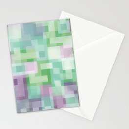 Soft Squares in Pastel Purple and Green Stationery Cards