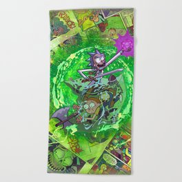 Rick & M - Dungeons and Dragons Comic Collage Portal Comic Book Art Beach Towel