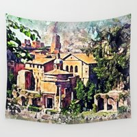rome Wall Tapestries featuring Rome architecture by jbjart