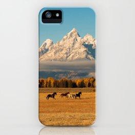 Horses Running in Grand Teton iPhone Case