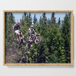 Closing In - Motocross Racers Serving Tray