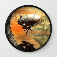 led zeppelin Wall Clocks featuring Zeppelin by nicky2342