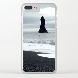 Black Sand Beach Clear iPhone Case