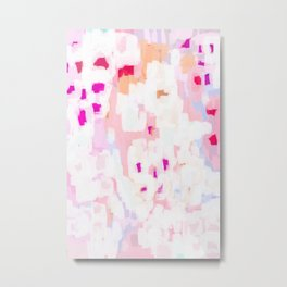 Netta - abstract painting pink pastel bright happy modern home office dorm college decor Metal Print